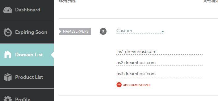 primer dreamhost name servera