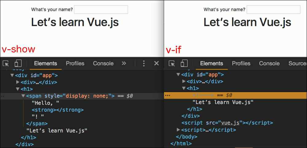 v-if vs v-show